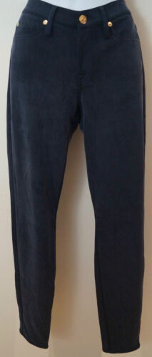 7 FOR ALL MANKIND Women's Midnight Navy Blue Sheen Skinny Trousers Jeans Sz 28