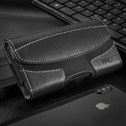 BIG Nylon Leather Tactical Case Pouch Holster+Belt Clip for LARGE PHONES