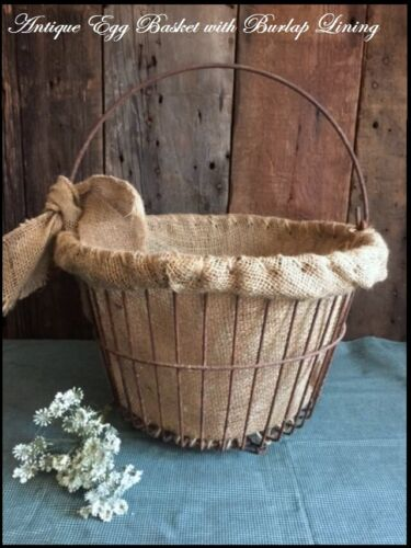 Primitive Antique Rusty Wire Farmhouse Egg Basket with Burlap Lining & Bow
