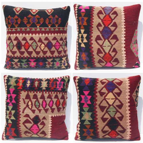 """Turkish pillow covers 4 pillows handmade square wool planter gift rugs 16x16"""""""