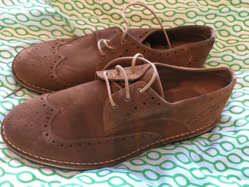 Dead Vintage Men's Round Toe Suede Brogues Shoes. Tan Brown. UK 10. NEW BOXED