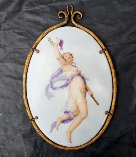 An Antique Porcelain Plaque Painting with Lady