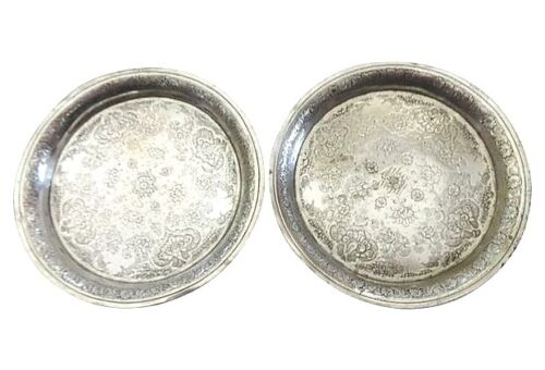 Superb Middle Eastern Coin silver Ornate Dishes S/2