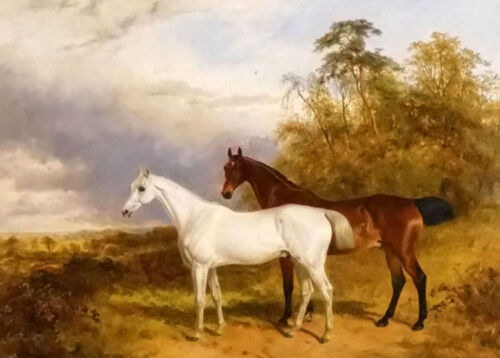 Oil painting james walsham baldock @ a bay and grey horse in a landscape canvas
