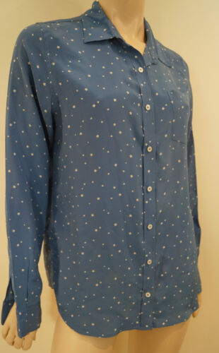 MIH COLLECTION Blue & White 100% Silk Star Print Long Sleeve Collared Blouse Top