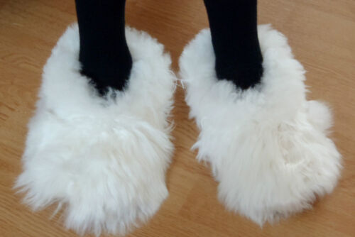 PERUVIAN ALPACA FUR SLIPPERS * SNOWY WHITE 5 sizes available