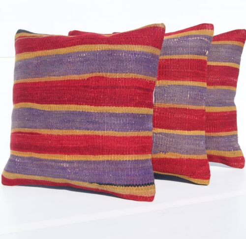 """TURKISH KILIM RUG PILLOW COVERS 16"""" SQUARE WOOL HAND WOVEN ROME DESIGN AREA RUGS"""
