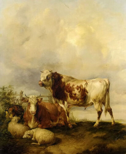 Oil painting thomas sidney cooper - a bull a cow two sheep and a goat animals @!