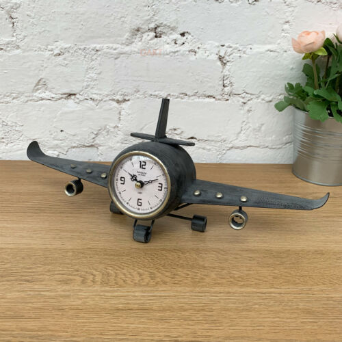 Antique Vintage Retro Home Aeroplane Plane Floating Metal Wall Clock Decoration