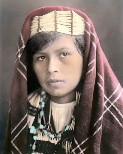 """QUINAULT NATIVE AMERICAN INDIAN GIRL 1913 8x10"""" HAND COLOR TINTED PHOTOGRAPH"""