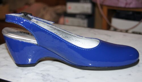 Arche Posta Royal Blue Patent Slingback Wedge Heeled Shoe