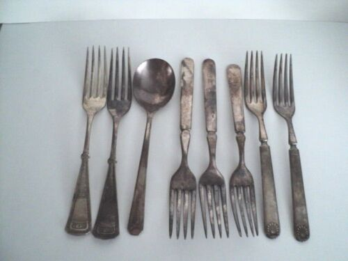 8 Pc Mixed Lot Silverplate Spoon Forks Antique Flatware Craft Lot shabby chic