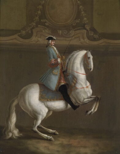 """Oil painting ancient male figures gentleman ride white horse race horserace 36"""""""