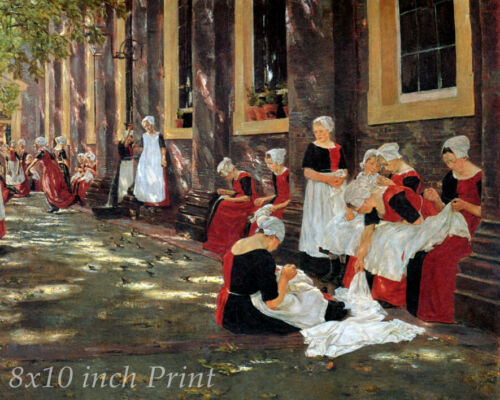 Free Hour at the Amsterdam Orphanage by Max Liebermann - Girls  8x10 Print 2592