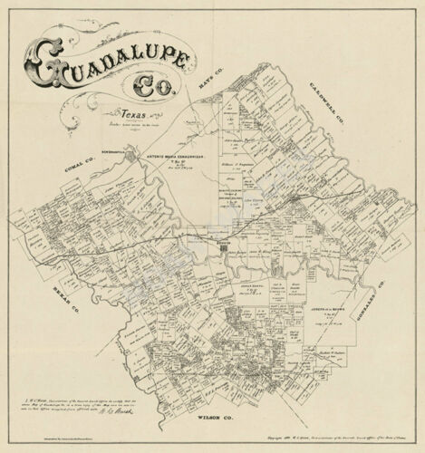 Map of Guadalupe County TX c1880 repro 22x23