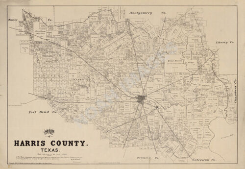 Map of Harris County TX c1879 repro 34x24