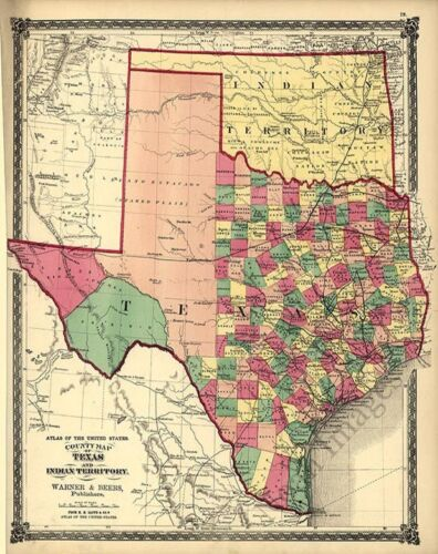 County map of Texas and Indian Territory c1875 repro 16x20