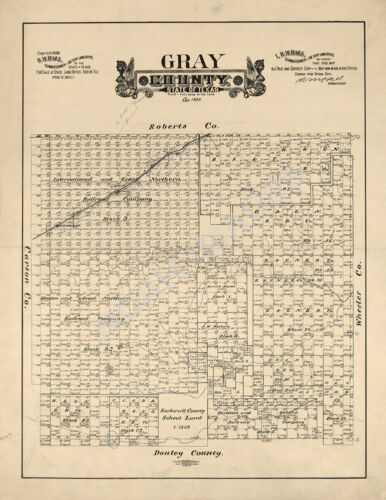 Map of Gray County TX c1888 repro 16x20