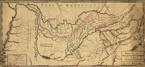 Map of the Tennessee government c1795 repro 24x12