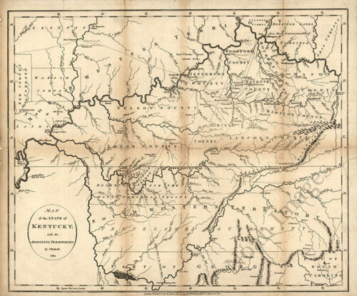 Map of the state of Kentucky and part of TN c1795 repro 20x16
