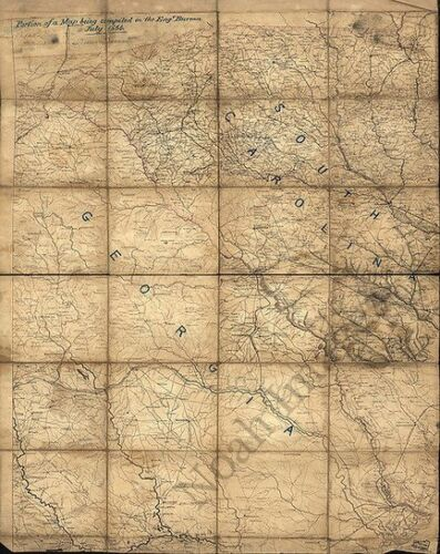 Map of eatern GA and SC c1864 repro 24x30