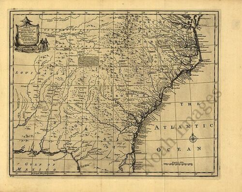 Map of NC and SC c1752 repro 20x16