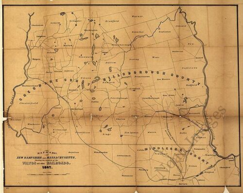 Railroad map of NH and MA c1847 repro 30x24