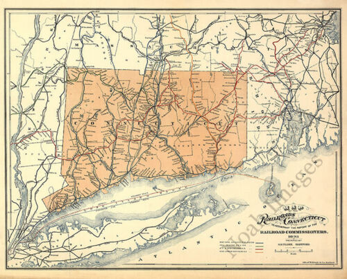 Map of the railroads of CT c1893 repro 30x24