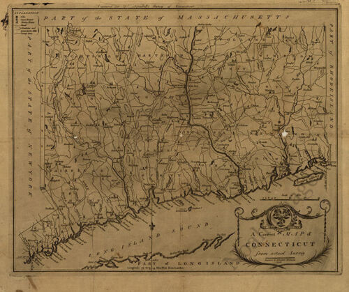 Map of Connecticut c1797 repro 20x16