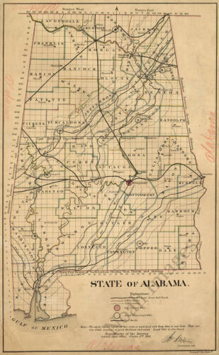 Map of State of Alabama c1866 repro 18x28