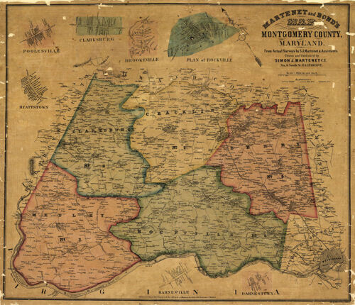 Map of Montgomery County Maryland c1865  repro 28x24