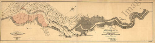Map of Anacostia River in DC and MD c1891 repro 44x13