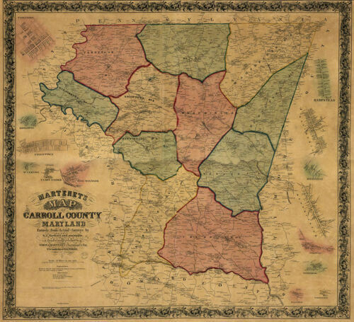 Map of Carroll County Maryland  c1862 repro repro 26.5x24