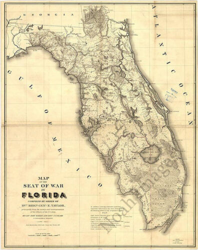 Seat of War in Florida c1839 repro 24x30