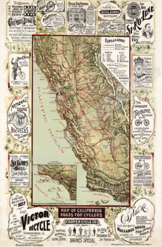 Map of California Roads for Cyclers vintage poster 18x24