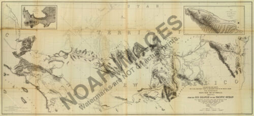 Survey and Exploration map of California c1861 36x17