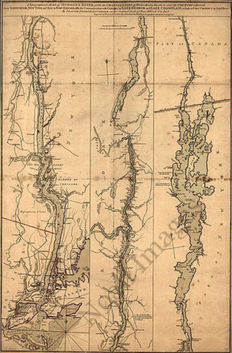 Topographical map of Hudsons River c1777 repro 24x36