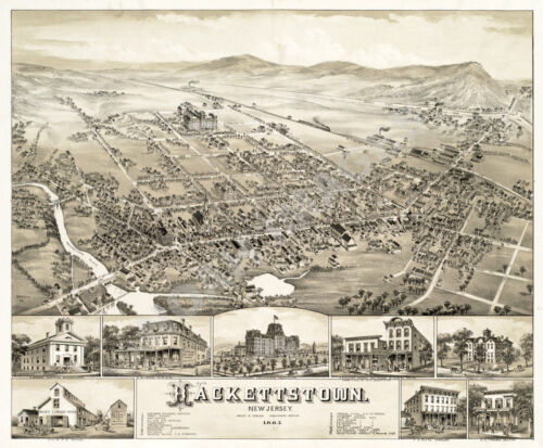 Hackettstown NJ c1883 Panoramic map repro 24x20