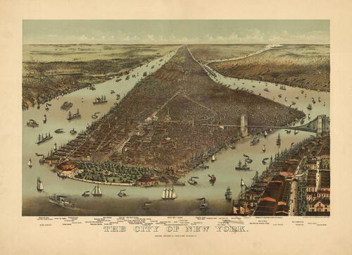 The city of New York c1892 map 30x24