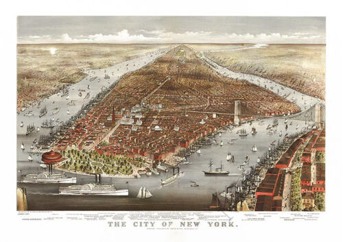 The city of New York c1876 map 36x24