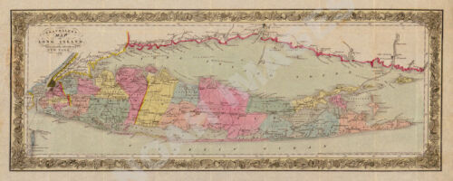Travellers map of Long Island c1857 map 24x10