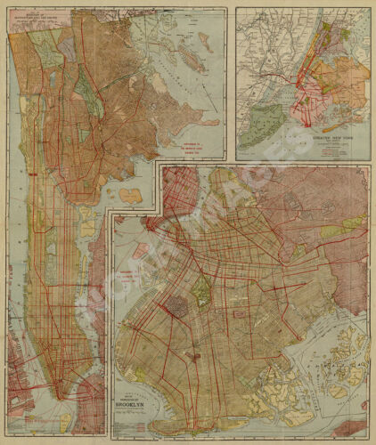 Map of NYC Brooklyn and Bronx c1923 repro 24x30