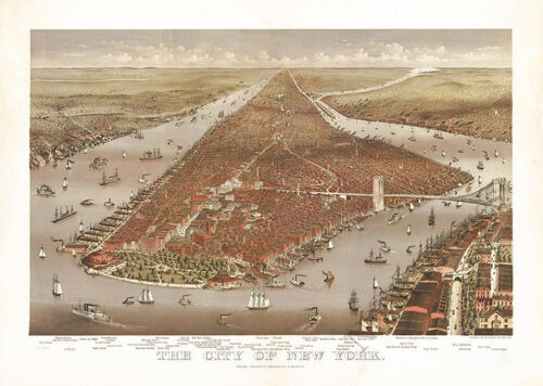 The city of New York c1884 map 36x24