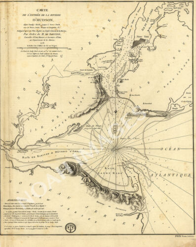 Map of New York Bay c1778 repro 18x24