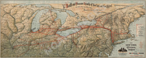 Railroad map of New York Central c1892 repro 36x15