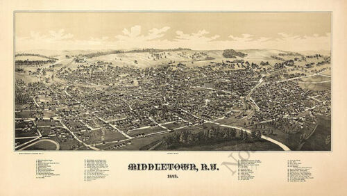 Middletown NY c1887 map 36x20