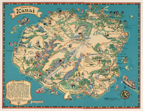 Island of Kauai Hawaii vintage pictorial guide map repro 24x18