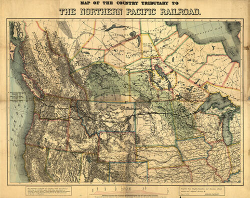 Northern Pacific Railroad map c1871 30x24