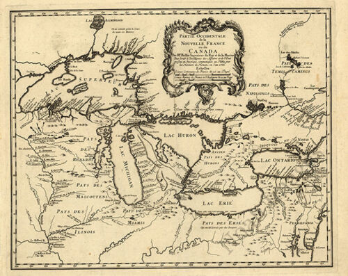 Map of Nouvelle France in Canada c1755 30x24