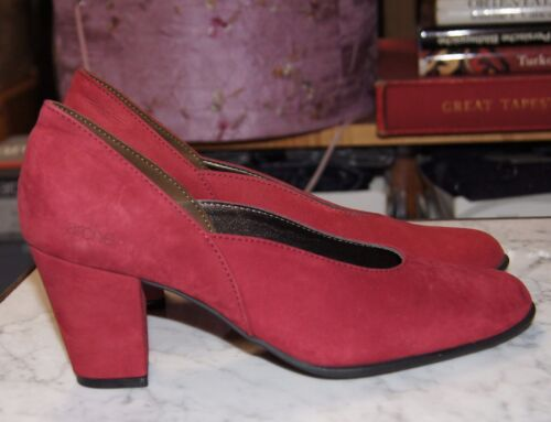 Arche Ideam Red Nubuck Leather Court Shoes